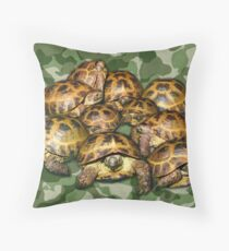 Greek Tortoise Group on Green Camo Throw Pillow