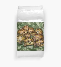 Greek Tortoise Group on Green Camo Duvet Cover