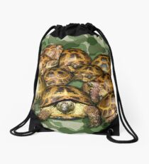 Greek Tortoise Group on Green Camo Drawstring Bag