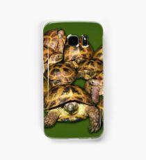 Greek Tortoise Group on Darn Green Background Samsung Galaxy Case/Skin