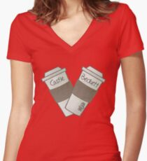 coffee heart Women's Fitted V-Neck T-Shirt