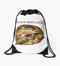 Tortoise - I still need more coffee Drawstring Bag