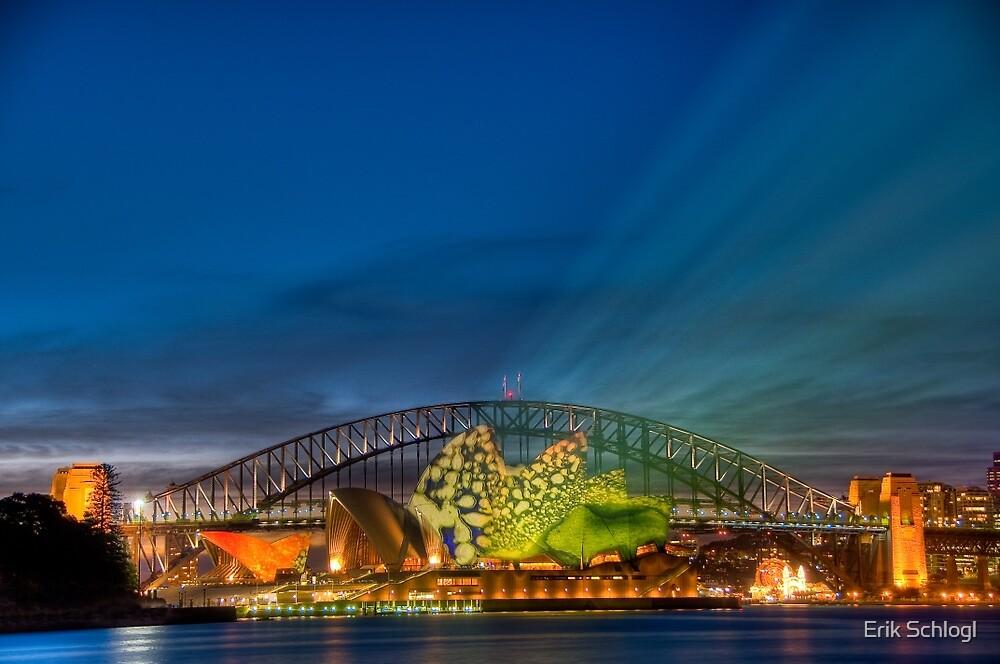 Vivid Sunset - Sydney Opera House and Harbour Bridge by Erik Schlogl