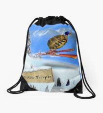 Skiing Tortoise Slope Drawstring Bag