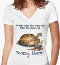 Tortoise with Ice Cream Cone Women's Fitted V-Neck T-Shirt