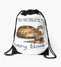 Tortoise with Ice Cream Cone Drawstring Bag