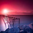 Sunset at Kwinana Beach Jetty,  Rockingham W.A. by Sandra Chung