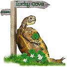 Tortoise with 4 leaf clover for St. Patrick's Day by LuckyTortoise