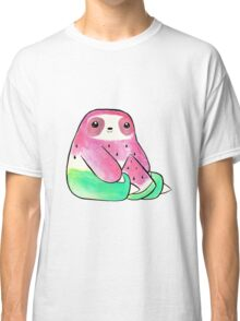 Watermelon Watercolor Sloth Classic T-Shirt