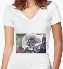In the face of the Flower Women's Fitted V-Neck T-Shirt