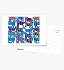 Colorful Abstract Coyote Art Duvet Cover Postcards