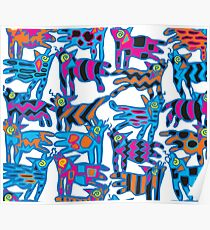 Colorful Abstract Coyote Art Duvet Cover Poster
