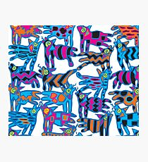 Colorful Abstract Coyote Art Duvet Cover Photographic Print