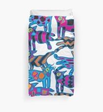 Colorful Abstract Coyote Art Duvet Cover Duvet Cover