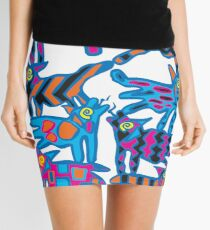 Colorful Abstract Coyote Art Duvet Cover Mini Skirt