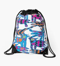 Colorful Abstract Coyote Art Duvet Cover Drawstring Bag