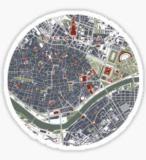 Seville city map engraving Sticker