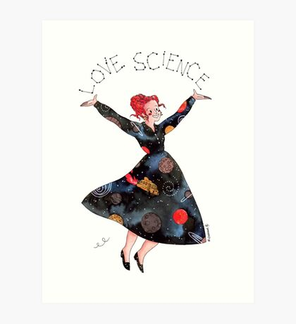 Miss Frizzle loves science Art Print