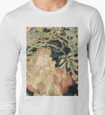 Alphonse Mucha - Woman In La Marguerite 1899  Garden,woman, love, dress,  birthday, fashion, spring, summer, peonies, pink,  beauty T-Shirt