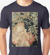 Alphonse Mucha - Woman In La Marguerite 1899  Garden,woman, love, dress,  birthday, fashion, spring, summer, peonies, pink,  beauty Unisex T-Shirt