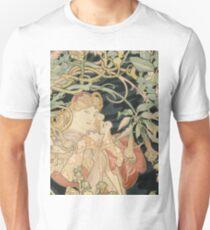 Alphonse Mucha - Woman In La Marguerite 1899  Garden,woman, love, dress,  birthday, fashion, spring, summer, peonies, pink,  beauty T-Shirt