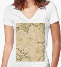 Alphonse Mucha - Peonies 1897  Garden, love, dress, fashion,spring, summer, peonies, pink, blossom, beauty Women's Fitted V-Neck T-Shirt