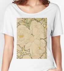 Alphonse Mucha - Peonies 1897  Garden, love, dress, fashion,spring, summer, peonies, pink, blossom, beauty Women's Relaxed Fit T-Shirt