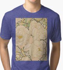 Alphonse Mucha - Peonies 1897  Garden, love, dress, fashion,spring, summer, peonies, pink, blossom, beauty Tri-blend T-Shirt