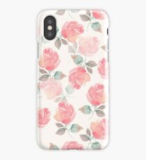 Hand-drawn beautiful roses. Seamless watercolor pattern iPhone Case