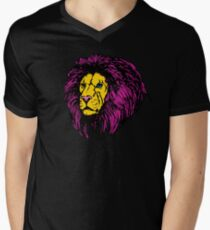 Lion Modern Pop Colors Men's V-Neck T-Shirt