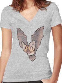 Grey long-eared bat Women's Fitted V-Neck T-Shirt