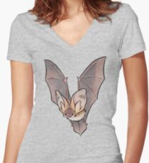 Grey long-eared bat Women's Fitted V-Neck T-Shirt