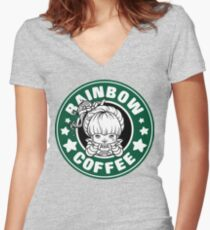Rainbow Coffee Women's Fitted V-Neck T-Shirt