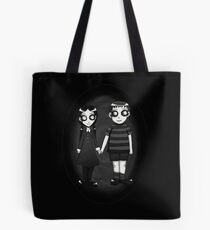 Dark little Wednesday and Pugsley Addams Tote Bag