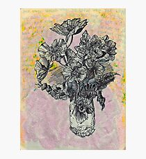 Flower illustration, pen and ink, glitter Photographic Print