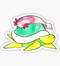 Little Axolotl and Turtle Watercolor Sticker