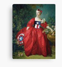 Lady Captain America, 18th Century Style Canvas Print