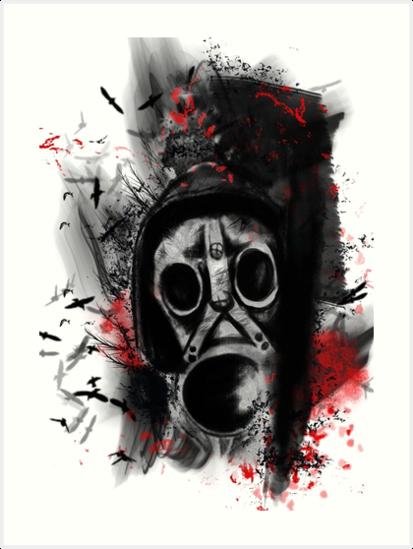 Quot Trash Polka Gas Mask Quot Art Prints By Roxanneart Redbubble