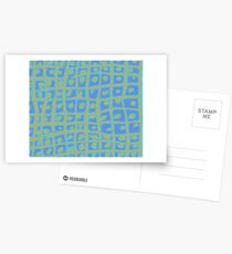 Modern Blue and Green Square Print iPhone 6 Case Postcards