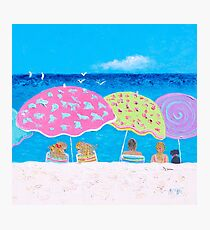 Beach painting - Girl Talk Photographic Print