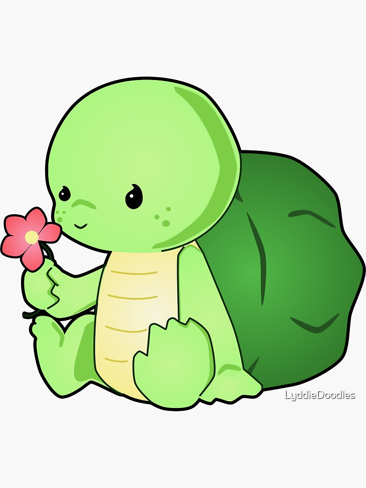 """""""Cute Baby Turtle Vector Drawing"""" Sticker by LyddieDoodles ..."""