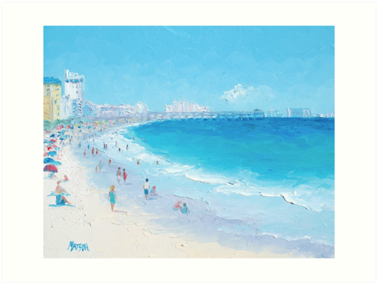 Beach Painting Myrtle Beach And Springmaid Pier By Matsonartdesign