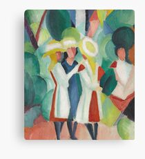 Vintage famous art - August Macke - Three Girls In Yellow Straw Hats I Canvas Print