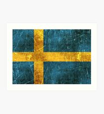 Vintage Aged and Scratched Swedish Flag Art Print