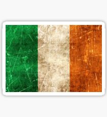 Vintage Aged and Scratched Irish Flag Sticker