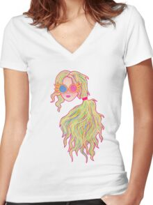 Psychedelic Luna Lovegood Women's Fitted V-Neck T-Shirt