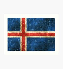 Vintage Aged and Scratched Icelandic Flag Art Print