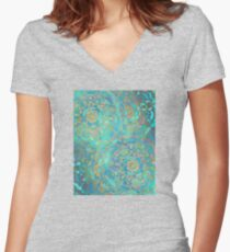 Sapphire & Jade Stained Glass Mandalas Women's Fitted V-Neck T-Shirt