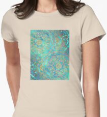Sapphire & Jade Stained Glass Mandalas Womens Fitted T-Shirt