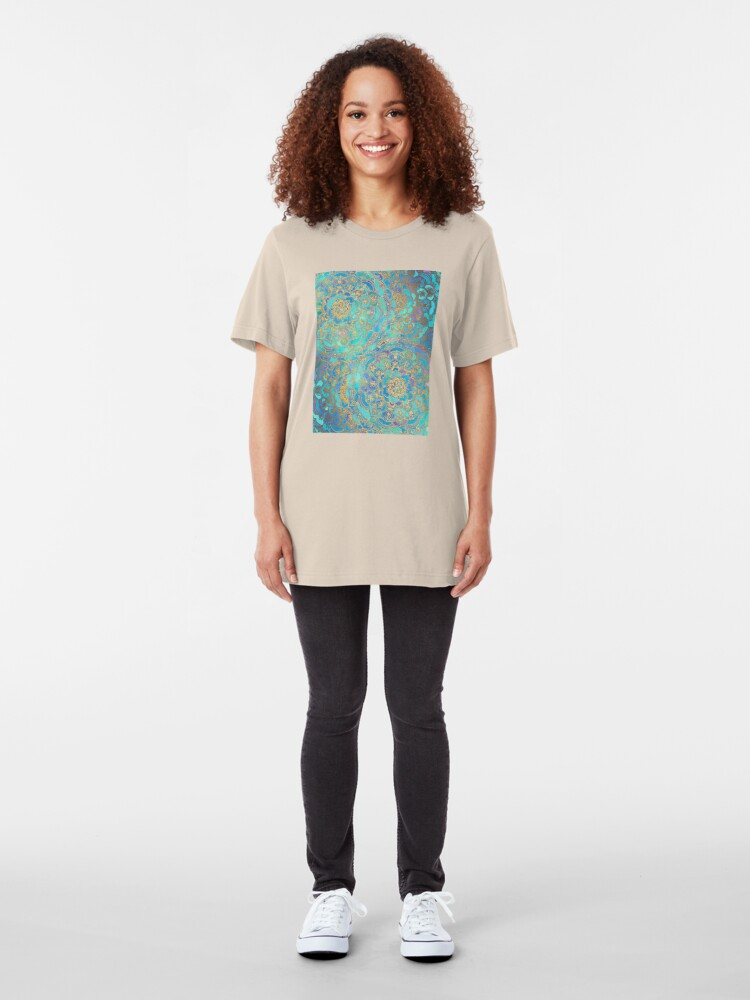 Alternative Ansicht von Saphir und Jade Glasmalerei Mandalas Slim Fit T-Shirt